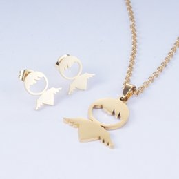 White Butterfly Necklace Sets Australia - Yunkingdom 2019 New Fashion Heart Butterfly Stainless Steel Jewelry Sets Necklace Earrings Set for Women Girls and Men