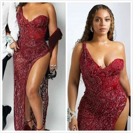 luxurious one shoulder dress Australia - 2019 Aso Ebi Arabic Burgundy Luxurious Sexy Evening Dresses One Shoulder High Split Prom Dresses Sheath Formal Party Second Reception Gowns