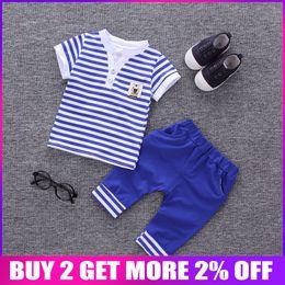 $enCountryForm.capitalKeyWord Australia - wholesale Summer Baby Boys Clothing Set Kids Striped Tops+ Pants Sport suit Infant Toddler Boys Clothes Set Kids Tracksuit