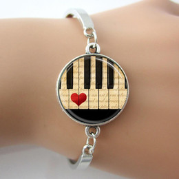 Wholesale Piano Keyboards Australia - Brand Music notes Piano Bracelet Black and White Keyboard Glass Dome Bangle jewelry gift for women musician teacher D481
