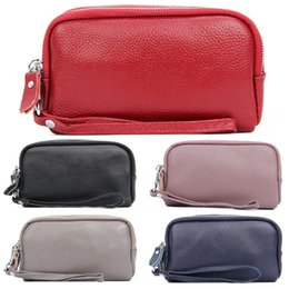 Wholesale Wrist Zipper Wallet Australia - New Women Wallet Large Capacity Three Layers Zipper Cellphone Pouch Coin Purse Female Wrist Bag Clutch Black Red