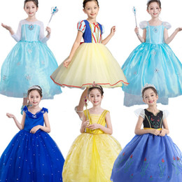 Wholesale Petites filles Bande Dessinée Robes 35+ Belle Sirène Princesse Patchwork Imprimé Robe Plissée Enfants Designer Vêtements Costume Fille Party Peform Costume 1-6T