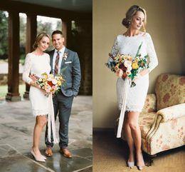 Cheap Short Backless White Dress Australia - Elegant Long Sleeves 2019 Plus Size Short Wedding Dresses Full Lace Backless Vintage Bohemian Beach Bridal Wedding Gowns Custom Made Cheap