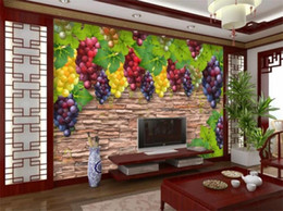 Photo backdroPs brick walls online shopping - Custom size d photo wallpaper mural living room bed room grape brick wall d picture sofa TV backdrop wallpaper mural non woven sticker