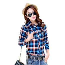 f90062020213aa 2018 Autumn Winter Ladies Female Casual Cotton Lapel Long-Sleeve Plaid Shirt  Women Slim Outerwear Blouse Tops Clothing  398406