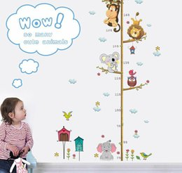 Wholesale Cartoon Animals Lion Monkey Owl Elephant Height Measure Wall Sticker For Kids Rooms Growth Chart Nursery Room Decor Wall Art