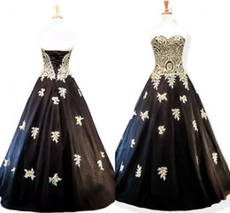 Lace Up Gold Prom Dresses Australia - In Stock 2019 Gold Black Evening Dresses Ball Gown Applique Organza Lace-up Backless Prom Dress Sweet 16 Dress Formal Evening Gowns Cheap