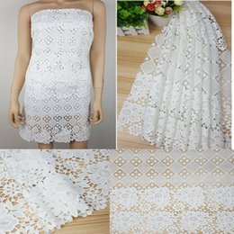 white lace dress for african women Australia - 5Yards High Quality African Lace Fabric White Embroidery Water Soluble Guipure Lace Fabrics For Women Nigerian Wedding Dress