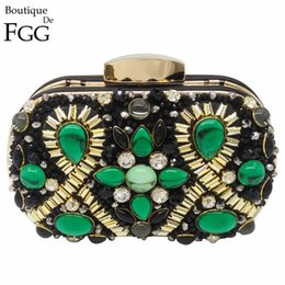 $enCountryForm.capitalKeyWord NZ - Boutique De Fgg Green Emerald & Black Beaded Women Evening Clutch Wedding Party Dinner Handbags And Purses Chain Shoulder Bag Y190626