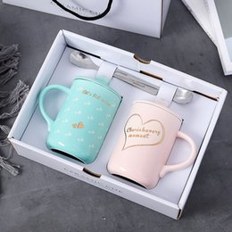 For Tumblers Australia - 2pcs set Heart Lovers Cup Outline in Gold Ceramic Coffee Mug High Grade Gift Box Mugs for Wedding Gifts Novelty Tumbler