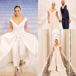 Yellow Satin Wedding Dresses Australia - Elegant 2019 Women Jumpsuit Wedding Dresses White Satin Bridal Pantskirts Gowns With Train Big V Neck Zipper Back Formal Celebrity Dress