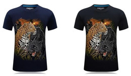 Wholesale cheetah prints resale online - New D Cheetah Stereo Short Sleeve Men s T shirt with Overbearing Personality and Round collar T shirt with Large Size in