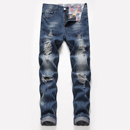 Chinese  Mens Designer Jeans Straight Big Hole Loose Type Spring Summer New Style Fashionable Urban Wind Pants manufacturers