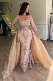 Ayrılabilir Etek V-Yaka Dubai Kadınlar Formal Abiyeler Uzun Kollu elbise de soiree ile Arapça Champagne Pullu Mermaid Abiye