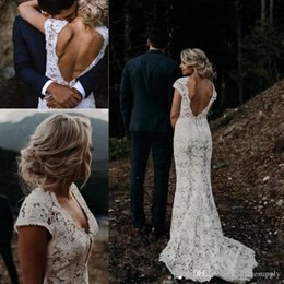 low back wedding dress styles Australia - Full Lace Country Style Boho Vintage Lace Mermaid Wedding Dresses 2020 V Neck Beach Bridal Gowns Vestidos De Novia Low Back WEdding Dress