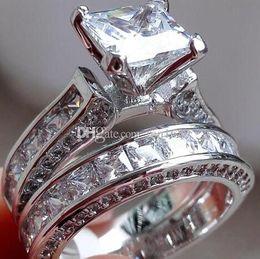 $enCountryForm.capitalKeyWord Australia - Wholesale fine Victoria Wieck Luxury Jewelry Princess cut 7.5mm White Sapphire 925 Silver Simulated Diamond Wedding Party Women Rin