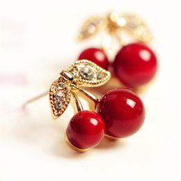 $enCountryForm.capitalKeyWord NZ - 2018 New Fashion Cute Lovely Red Cherry Earrings Rhinestone Leaf Bead Stud Earrings For Woman Jewelry Boucle D'oreille Femme