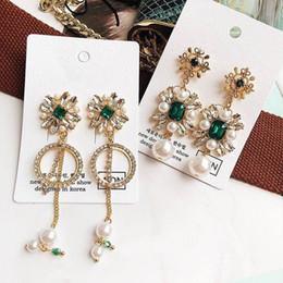 $enCountryForm.capitalKeyWord Australia - New Europe And America Vintage Crystal Flower Dangle Earrings For Women Rhinestone Circle Simulated Pearl Brinco