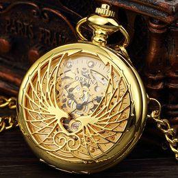 $enCountryForm.capitalKeyWord Australia - New Fashion Style Golden Transparent Skeleton Eagle Mechanical Pocket Watches Mens Hand Wind Pocket & Fob Watch Chain Whatch