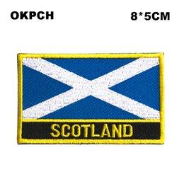 Spedizione gratuita 8 * 5 cm SCOTLAND forma BLU bandiera del Messico ricamo ferro sulla zona PT0241-R