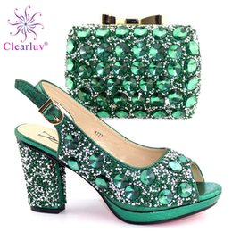 $enCountryForm.capitalKeyWord Australia - Green Italian Shoes with Matching Bag for Woman Italian Shoes and Bag Set High Quality African Wedding Shoe and Bag new 2019