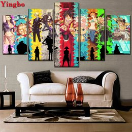 anime picture NZ - new arrival diamond painting Anime One Piece Diamond Embroidery rhinestone pictures diamond mosaic 5 pcs set kids gift 5d art
