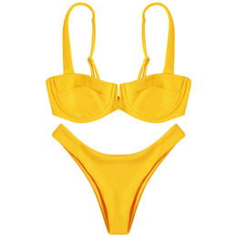 bikini separates women NZ - Langstar Summer Shoulder Strap Backless Underwire Ribbed Solid Color Low Waist Women Bikini Set Separate Female Swimsuit New Y19072401