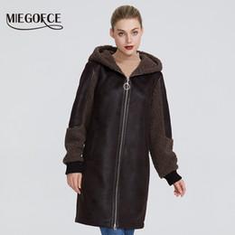 Wholesale faux fur lined hood resale online - MIEGOFCE New Winter Women Collection Faux Fur Jacket Ladies Coat Design Women Sheepskin Parka Knee Length Windproof Hood Y200109