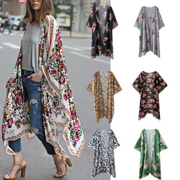 $enCountryForm.capitalKeyWord NZ - Elegant Floral printed kimono blouses shirt women fashion long cardigan tops summer casual beach bohemian chiffon bikini swimwear cover ups