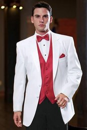 $enCountryForm.capitalKeyWord NZ - Nice Latest Coat Pant Designs White Satin Men Suit Red Waistcoat Wedding Suits For Groom Best Men Evening Party Suit 2 Pieces