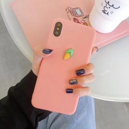 peach iphone NZ - Mytoto Cute 3D Summer fruit banana peach grape macaron silicone Pink phone case for iphone X XR XS MAX 6S 7 8 plus matte candy case