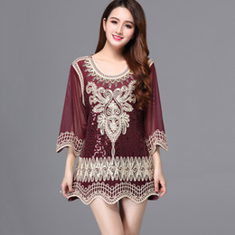 $enCountryForm.capitalKeyWord Australia - Casual Loose Female Summer Blouse Top 3 4 Sleeve Embroidery Sequin Party Shirt Tunic Top Plus Size Women Top