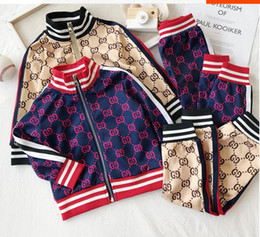 Wholesale lace trench jacket coat resale online - Fall New Leisure Sportswear Two piece Fashion Colour Colouring Suit for Boys and Babies