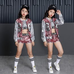 Hips Girl Australia - Tammy Ada Kids Girl Sequin Dancing Pink Silver Jacket Coat Crop Top Shorts 3pcs Hip-hop Jazz Dance Clothes Children Sets Q190523