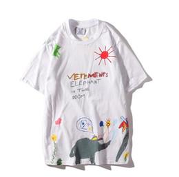 7c8d88a1 T Shirt Elephant UK - 19SS Designer New Fashion Handmade Graffiti Elephant  Men's Short Sleeve T