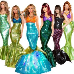 Wholesale sexy tails cosplay online – ideas Halloween Costume Cosplay Adult Cosplay Mermaid Princess Dress Sexy Wrap Chest Mermaid Tail Skirt For women color