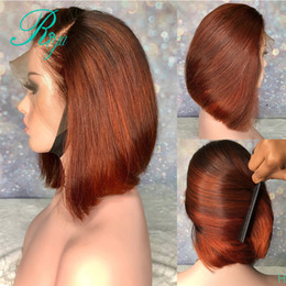 Discount dark red black hair color Side part 13X4 150% Red orange Ombre Color brazilian full lace front wig Short Bob Cut Blunt Pixie synthetic Wigs For Bl
