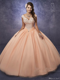 Dress Chart Australia - Shimmering Tulle Quinceanera Dresses Ball Gowns Mary's with Cape and Portrait Neck Major Beading Peach Sweet 15 16 Dresses