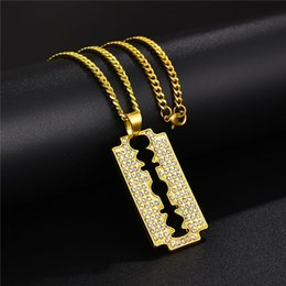 $enCountryForm.capitalKeyWord Australia - Fashion Gold Razor Blade Necklace Mens Iced Out Rhinestone 18K Real Gold Platinum Plated Razor Pendant Necklace Perfect Gift For Man