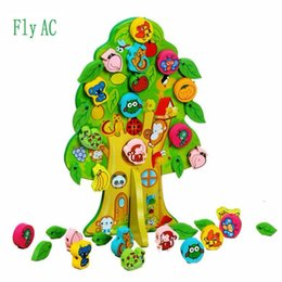 wooden educational fruit NZ - ood toy animal 3D DIY Colourful Wooden Toy Animal Fruit Tree House Stringing Beads Baby Birthday Gift Children Favor Educational &Learnin...