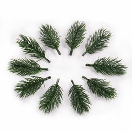 Artificial Flowers For Decoration Box NZ - 10PCS pine needle artificial fake plant artificial flower branch For Christmas tree decoration accessories DIY bouquet gift box D19011101