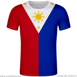 Wholesale PHILIPPINES t shirt diy free custom name number phl t shirt nation flag ph republic pilipinas filipino print text photo clothing