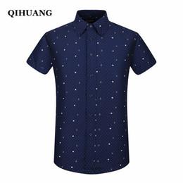 Linen Slim Shirts Australia - Qihuang 2018 Summer Men Short Sleeve Shirt Fashion Slim Sailor Element Print Dress Shirt Plus Size Male Social Shirt Y190506
