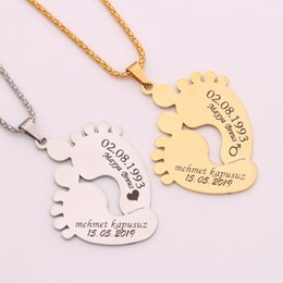 f542d70ceb Personalized Customized Baby Name Cute Foot Stainless Steel Pendant Necklace  Baby's Birthday Fashion Jewelry Mama's Present