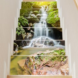 $enCountryForm.capitalKeyWord NZ - New 6pcs set 3D Alpine Waterfall DIY Stairs Art Mural Walll Sticker Step Decoration Poster Landscape PVC Self-adhesive Wallpaper