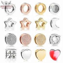Space charmS online shopping - 100 sterling silver enamel charms Shine Reflexions Star Clip Rose Space Ship Clip Moon Bow Gift Heart SPARKLING INFINITY Clip Charm DIY