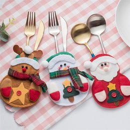 $enCountryForm.capitalKeyWord Australia - 3 styles christmas Knife and Fork Set gift bags decorations Small snowman elk and santa fork bags creative home tableware sets DHL JY443