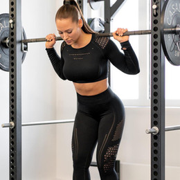 Wholesale thin mesh pants resale online – Women Seamless Gym Sets High Waist Gym Mesh Leggings Shirts Suit Long Sleeve Fitness Workout Sports Running Thin Sport Sets Y200110
