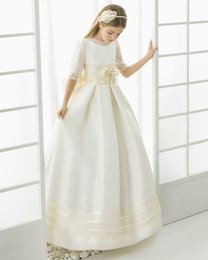 dress for comunion UK - Handsome Bow Satin Floor-Length Flower Girl Dresses Kids Pageant Dresses First Communion For Girls Vestidos De Comunion