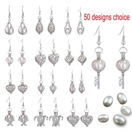 Discount fresh pearls wholesale - 50 Designs For You choose Fresh Water Pearl Cage Beads Cage Locket Earring 925 Silver Aroma Essential Oil Diffuser Locke